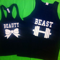 Free Shipping for US Beauty And The Beast Valentine's Day Matching Couples Tank Tops/Shirts: Black Different Version