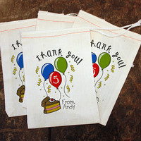 Kids Birthday Party Favor - Thank You Gift Bag / Toddler Candy Bags / Birthday Balloon Goody Bag / Birthday Cake Thank You Card Replacement