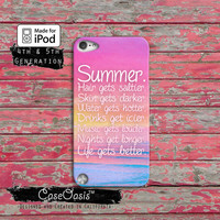 Summer Quote Pink Sunset Ocean Tumblr Inspired Cute Case iPod Touch 4th Generation or iPod Touch 5th Generation Rubber or Plastic Case