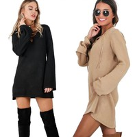 Lace Up knitted Dress Women Elegant Autumn Polyester Dress Casual Vestidos Long Sleeve Sweater