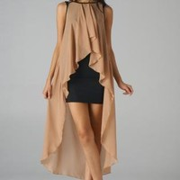 Black Bodycon Dress with Contrast Taupe Sheer Overlay
