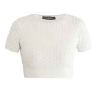 Honeycomb knit cropped sweater   Alexander McQueen   MATCHESFA...