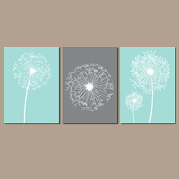 DANDELION Wall Art Flower Artwork Aqua Gray Custom Colors Modern Nursery Set of 3 Prints Decor Bedroom Bathroom Dorm Three