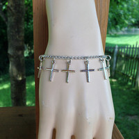 Cross Charm Bracelet, Crucifix Jewelry, Small Charms, Chain Bracelet, Silver Color