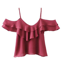 Burgundy V-neck Ruffle Cold Shoulder Cami Top
