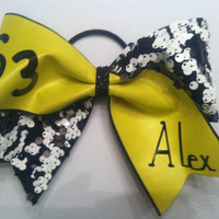 """3"""", 3 inch cheer cheerleader bow customized REVERSIBLE SEQUINS  team and name-Team Bows"""