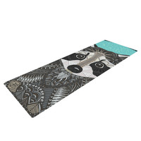 "Art Love Passion ""Racoon in Grass"" Gray Teal Yoga Mat"