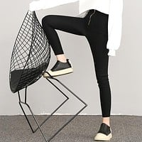 Women All-match Simple Solid Color High Waist Zip Leggings Bodycon Stretch Pencil Pants Trousers