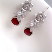Silver Rose Red Fall Crystal Earrings With Sterling Silver