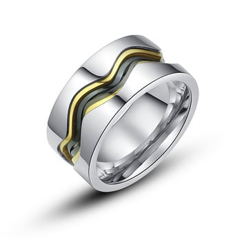 Stainless Steel Wave Curve Outline Ring