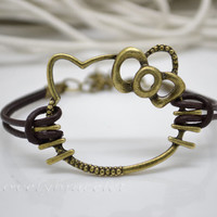Hello Kity bracelets, bracelets, and the cat's charm bracelet, bronze bracelets, leather rope bracelet, the best gift
