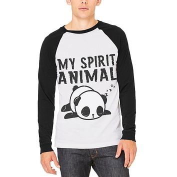 My Spirit Animal Tired Panda Cute Mens Long Sleeve Raglan T Shirt
