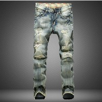 Design Vintage Strong Character Ripped Holes Men's Fashion Pants Jeans [6541762115]