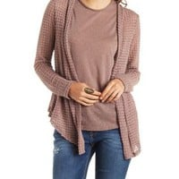 Open Knit Pointed Hem Cardigan with Crochet Back
