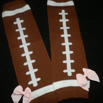 Baby Girl FootBall Legwarms With cute Pink Bow Ready to Ship