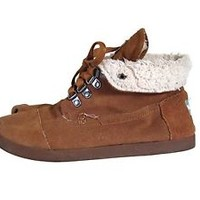 Toms Ankle Boots Faux Fur Lined Winter Brown Flat Sherpa Size 9 Brown Leather