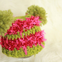 Crochet  newborn hat with pom-pons, first Christmas, green and crimson,thick and thin yarn, photo prop