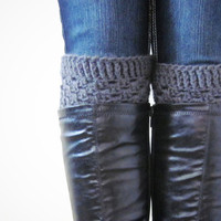 Crochet Boot Cuffs Luxe Cuffs Socks Boot Toppers in Charcoal