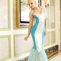 White and Blue Strappy Mermaid Costume