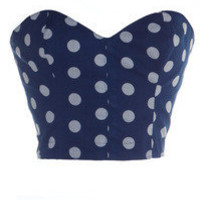 Style Icon's Closet 50s style Vintage Inspired Pin-Up African Print Retro Rockabilly Clothing — 50s Style Blue Pin-Up Polka Dot Bustier