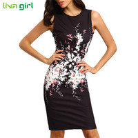 Summer Sleeveless Mini Dress Sexy Women O Neck Floral Print Bodycon Dresses Ladies Evening Party Dress Vestidos Size S-XL Dec22