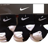 Nike Infant Baby Socks BlackWhite 6 Pairs, Size 12-24 Months