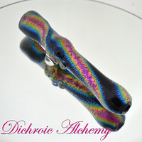 Vibrant Pink Rainbow Dichroic over Black Glass One-Hitter Pipe, fast shipping!