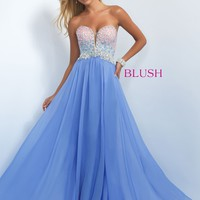 Blush 11097 Vibrant Ombre Beaded A-Line Prom Dress