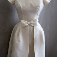 """Vintage 60s Silk Shantung Retro Cocktail Sheath WEDDING DRESS by Lorrie Deb with OVERSKIRT Bow Trim Party Bust 35"""""""