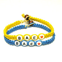 Bracelets for Couples or Best Friends, BAE, Before Anyone Else, Bright Blue and Yellow Handmade Hemp Jewelry