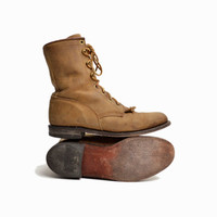 Vintage Lace Up Leather Roper Boots by Justin in Light Brown - women's 7.5