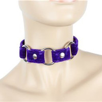 """Purple Velvet Choker With 3 Silver O-Rings 3/4"""" Wide Leather"""