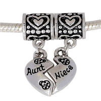 European Charm Metal Dangle Beads Aunt and Niece