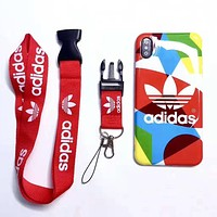 Adidas Fashion New Letter Leaf Print Multicolor Protective Cover Lanyard Phone Case