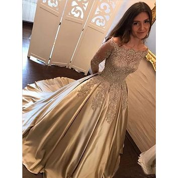 Champagne Gold Prom Dress Long Sleeves, Prom Dresses, Pageant Dress, Evening Dress, Ball Dance Dresses, Graduation School Party Gown, DT0679