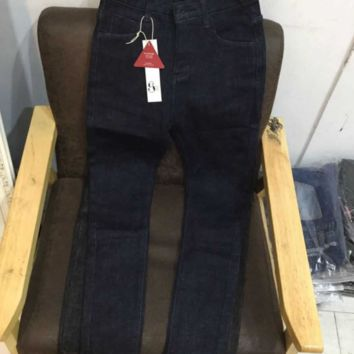 FREE SHIPPING 5KG high-waisted lean foundation style with fleece and thick jeans, pencil pants and small foot pants