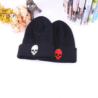 Skull Bead Pattern Knit Cap
