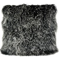 Lamb Fur Pillow Large Black Snow Wool
