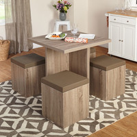 Simple Living 5-piece Baxter Dining Set with Storage Ottomans   Overstock.com Shopping - The Best Deals on Dining Sets
