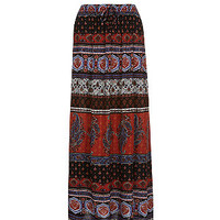 Red Ethnic Print Maxi Skirt