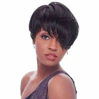 Short Inclined Bang Straight Synthetic Wig - Black   Fwresh Beauty