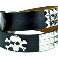 Skull Crossbones Silver Metallic 3 Row Pyramid Stud Belt Genuine Leather