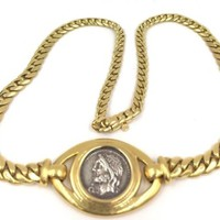Rare! Authentic Bvlgari Bulgari 18k Yellow Gold Ancient Coin Link Necklace