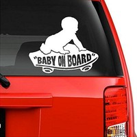 Baby on Board Baby Boy on Skateboard Vinyl Decal Sticker For Car Laptop