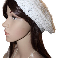 Sparkling White Slouchy Beret Hat