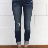 Mid-Rise Raw Edge Lightly Distressed Skinny Jeans {Dark Wash}