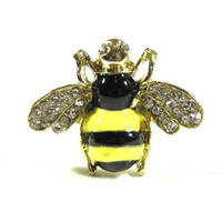 Crystal Bumble Bee Ring Adjustable Hornet Wasp Gold Tone RE15 Insect Yellow Jacket Fashion Jewelry