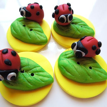 Handmade Polymer Clay Buttons Lady Bugs Set of 4