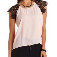 Lace & Chiffon High-Low Tee by Charlotte Russe - Pearl Blush