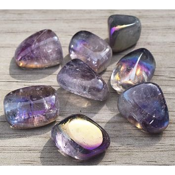 RAINBOW AURA AMETHYST Crystal - All-Purpose Metaphysical Crystal - Crown Chakra Stone